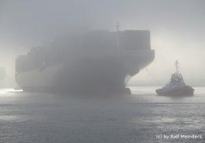 Containerschiff Thalassa Doxa im Nebel